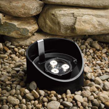"""Kichler Landscape 8"""" 3-Light 10 Degree LED Well Light in Textured Black"""