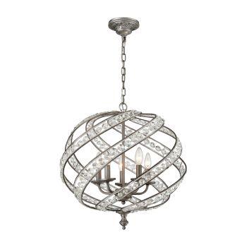 """Elk Lighting Renaissance 21"""" 5-Light Crystal Chandelier in Zinc"""