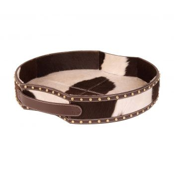 ELK Home Holstein Pony Tray in Dark Brown and Cream