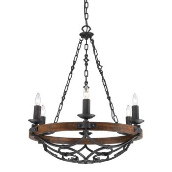 Golden Lighting Madera 6-Light Chandelier in Black Iron with