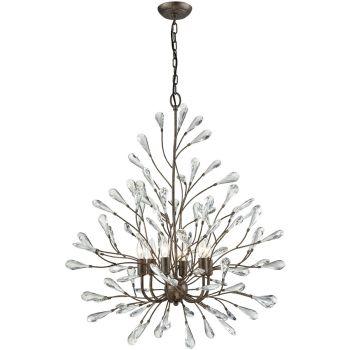 """Elk Lighting Crislett 31"""" 6-Light Chandelier in Sunglow Bronze"""