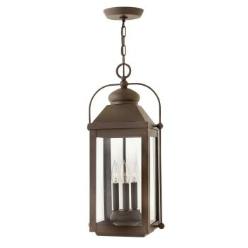 Hinkley Anchorage 3-Light Outdoor Hanging Light in Light Oiled Bronze