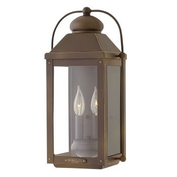 Hinkley Anchorage 2-Light Outdoor Medium Wall Sconce in Light Oiled Bronze
