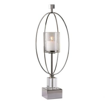 "Uttermost Tamra 26.75"" Clear Seeded Glass Candleholder in Polished Silver"