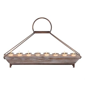 "Uttermost Benigna 28.5"" 8-Tea Light Candleholder in Natural Fir Wood"