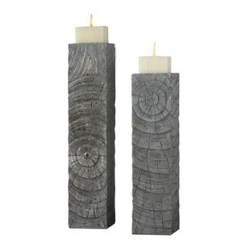 "Uttermost Odion 25.75"" Wooden Log Candleholders in Silver (Set of 2)"