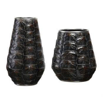 "Uttermost Kapil 14"" Tortoise Shell Vases in Dark Brown (Set of 2)"