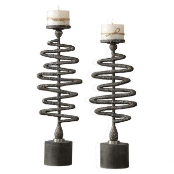 "Uttermost Zigzag 24.5"" Candleholders in Antique Silver (Set of 2)"