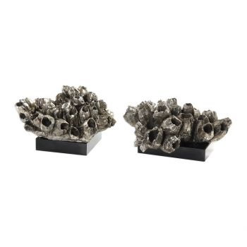 """Uttermost Sessile 7.5"""" Barnacle Sculptures in Silver Champagne (Set of 2)"""