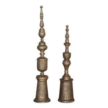 "Uttermost Nalini 27.5"" Finials in Mango Wood (Set of 2)"