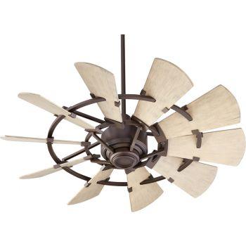 """Quorum International Windmill 44"""" Damp Fan in Oiled Bronze"""