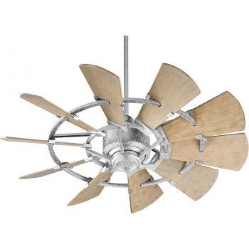 "Quorum International Windmill 44"" Damp Fan in Galvanized"