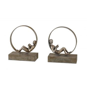 Uttermost Lounging Set of 2 Reader Antique Bookends
