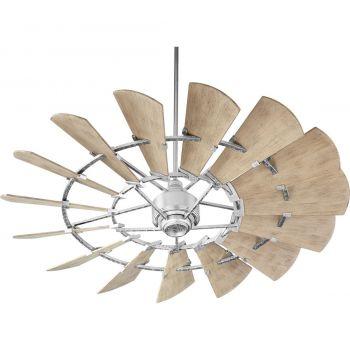 "Quorum Windmill 60"" 15-Blade Ceiling Fan in Galvanized"