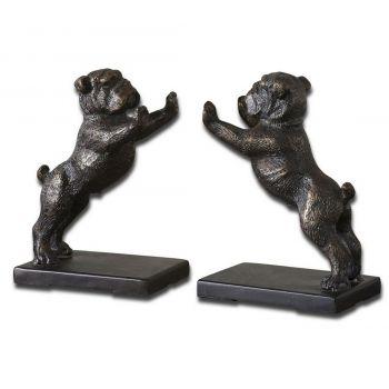 "Uttermost Bulldogs 6.5"" Bookends in Golden Bronze Cast Iron (Set of 2)"
