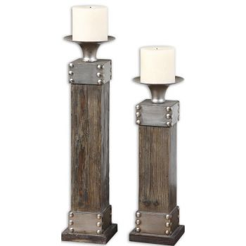 Uttermost Lican Set of 2 Natural Wood Candleholders