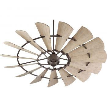 "Quorum Windmill 72"" 15-Blade Ceiling Fan in Oiled Bronze"