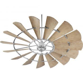 "Quorum Windmill 72"" 15-Blade Ceiling Fan in Galvanized"