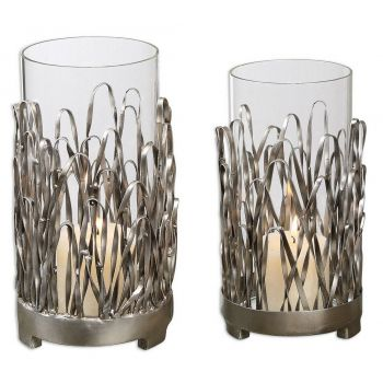 "Uttermost Corbis 10.25"" Candleholders in Silver (Set of 2)"