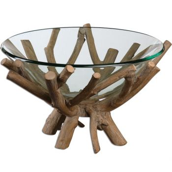 """Uttermost Thoro 11.63"""" Decorative Bowl in Natural Wood"""