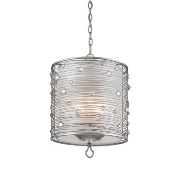 Golden Lighting Joia 3-Light Pendant in Peruvian Silver w/ Sterling Mist Shade