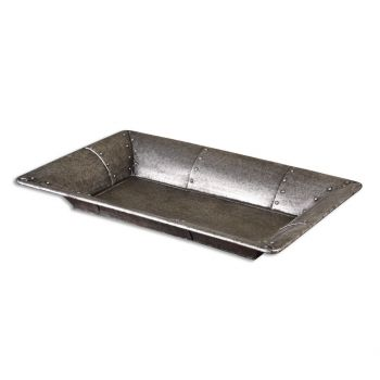 """Uttermost Arya 32"""" Studded Metal Tray in Burnished Silver"""