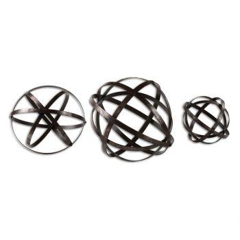 "Uttermost Stetson Spheres 11.8"" Spheres in Dark Aged Bronze (Set of 3)"