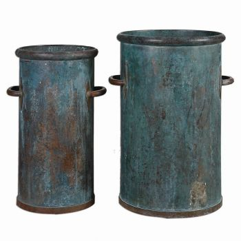 "Uttermost Barnum 16.5"" Cans in Tarnished Copper (Set of 2)"