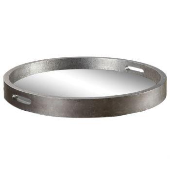 Uttermost Bechet Round Tray in Antique Silver