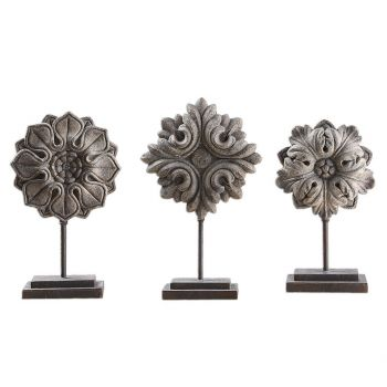 """Uttermost Alarik 18.75"""" Florals in Distressed Aged Ivory (Set of 3)"""