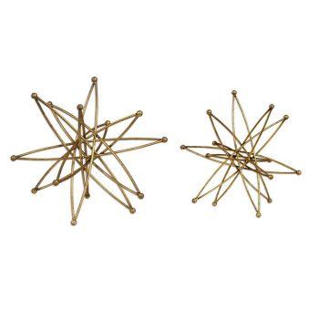 """Uttermost Constanza 12.25"""" Atom in Metallic Gold Leaf (Set of 2)"""