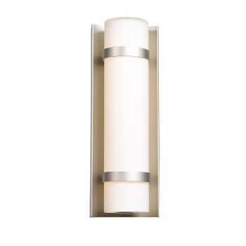 "Access Lighting Cilindro 12.38"" LED Outdoor Wall Sconce in Brushed Steel"