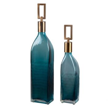 "Uttermost Annabella 19"" Glass Bottles in Teal Green (Set of 2)"