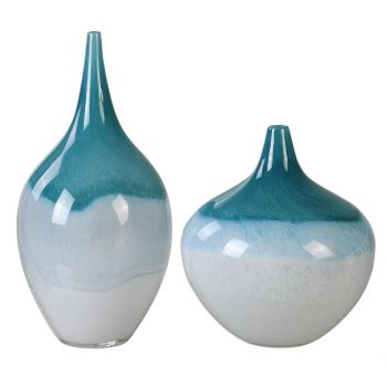 """Uttermost Carlas 15"""" Vases in Teal Green/White (Set of 2)"""