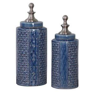 "Uttermost Pero 17.5"" Urns in Sapphire Blue (Set of 2)"