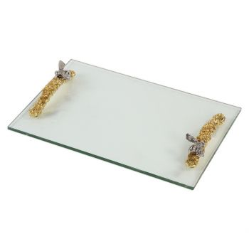 """Uttermost Hive 17.75"""" Clear Glass Tray in Bright Gold"""