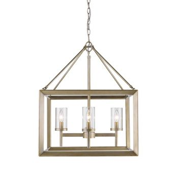 Golden Lighting Smyth 4-Light Chandelier in White Gold with Clear Glass