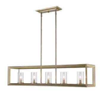 Golden Lighting Smyth 5-Light Linear Pendant in White Gold w/ Clear Glass