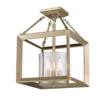 Golden Lighting Smyth Converible Semi-Flush in White Gold w/ Clear Glass