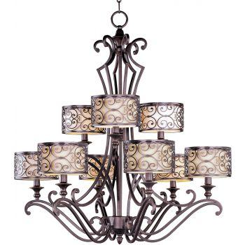 """Maxim Lighting Mondrian 34"""" 9-Light Multi-Tier Chandelier in Umber Bronze"""