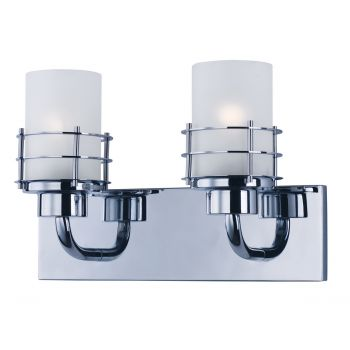 "Maxim Lighting Tier 14"" 2-Light Frosted Bath Vanity in Polished Chrome"