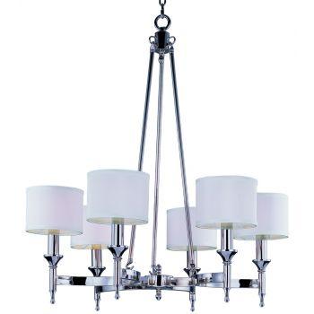 "Maxim Lighting Fairmont 30"" 6-Light Chandelier in Polished Nickel"