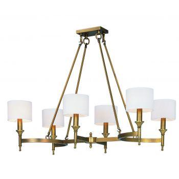 "Maxim Lighting Fairmont 41"" 6-Light Chandelier in Natural Aged Brass"