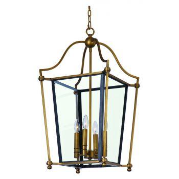 "Maxim Lighting Ritz 21.75"" 4-Light Chandelier in Natural Aged Brass"