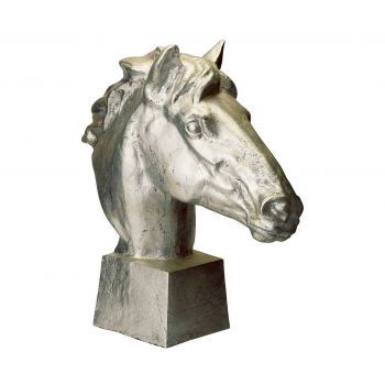 ELK Home Gilded Gilded Age Horse Head in Distressed Silver