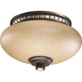 "Quorum Ashfield 9.75"" 2-Light Antique Flemish Light Kit in Walnut"