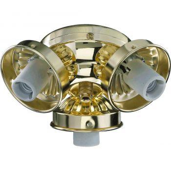"""Quorum Kit 5.5"""" 3-Light Ceiling Fan Light Kit in Polished Brass"""
