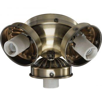"""Quorum Kit 5.5"""" 3-Light Ceiling Fan Light Kit in Antique Brass"""
