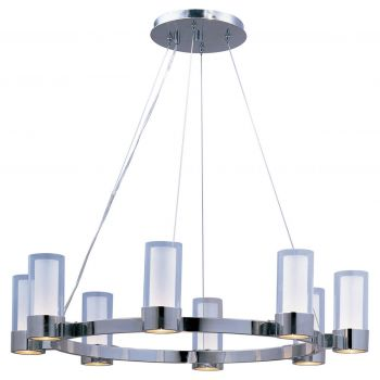 """Maxim Silo 32"""" 8-Light Clear/Frosted Glass Chandelier in Polished Chrome"""