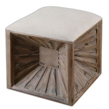 """Uttermost Jia 19"""" Wooden Ottoman in Natural Weathered Fir"""